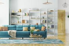 Moderner Wohnraum mit Bücherwand