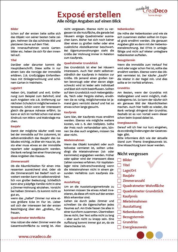 Expose erstellen Checkliste nötige Angaben