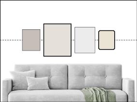 Bilderwand mit unterschiedlich großen Bildern auf gemeinsamer Mitte