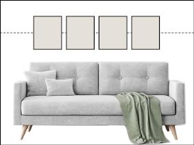 Bilderwand mit gleich großen Bildern auf gemeinsamer Mitte