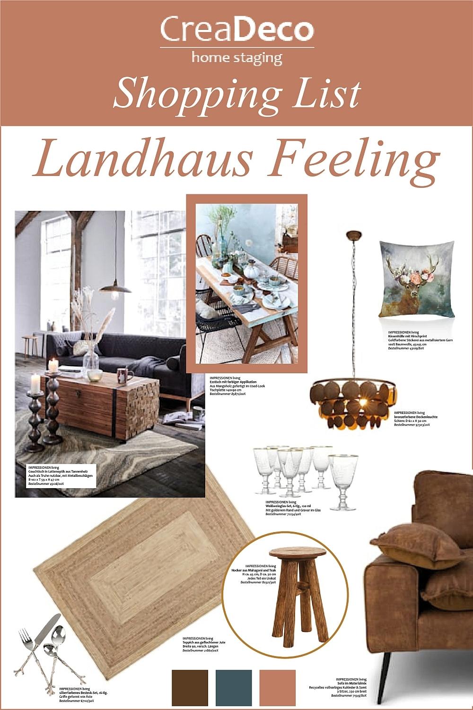 Einkaufsliste Landhaus Möbel und Dekoration