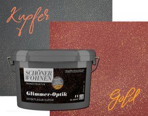 wandfarbe glimmer kupfer gold