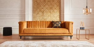 sofa im art deco mit fototapete