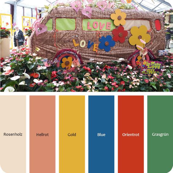 Farbpalette Flower Power Wohnungseinrichtung