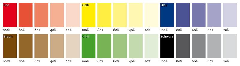 Farbnuancen Abstufungen Grundfarben