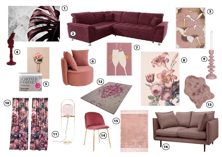 moodboard shopping möbel deko beere pink lila