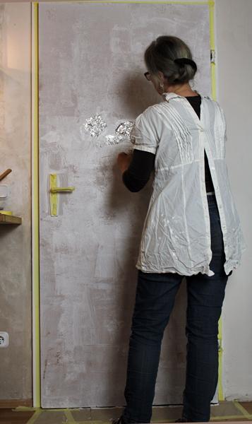 Zimmertür mit Struktur versehen alufolie